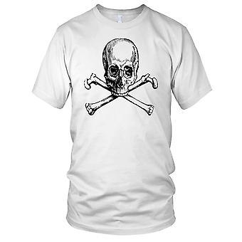 Skull And Crossbones B&W Ladies T Shirt