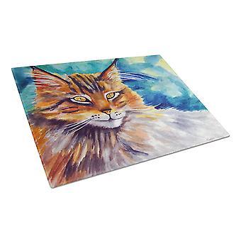 Beobachten Sie Glas schneiden Board große Maine-Coon-Katze