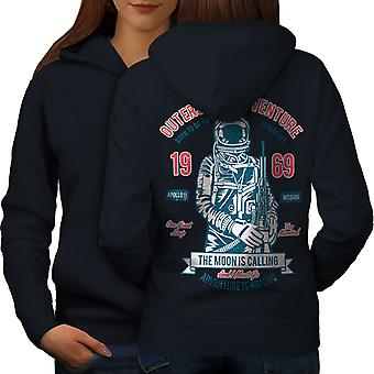 Moon Apollo Mission Space Women NavyHoodie Back | Wellcoda