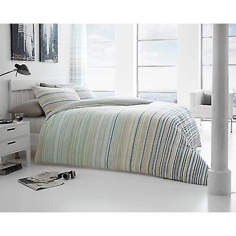 Andrea Stripes 4Pc Duvet Cover with fitted sheet Polycotton Printed Bedding Set