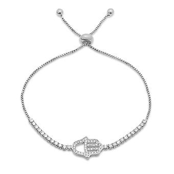 Ladies 18K White Gold Plated Drawstring Bracelet