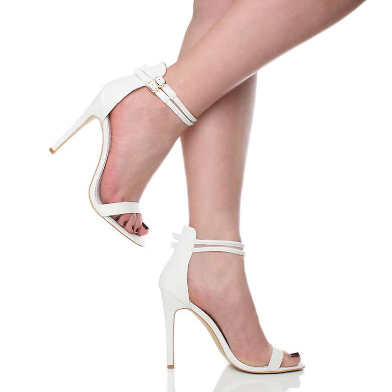 strap barely high there party womens double buckle sandals stiletto shoes Ajvani heel RqZw10fHW