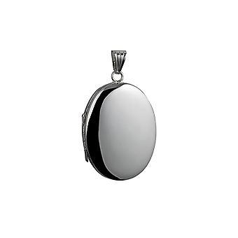 Silver 35x26mm oval plain 4 photo family Locket