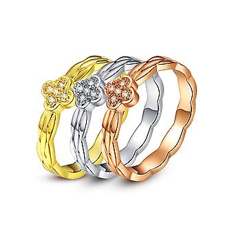 Ring 3 Lonely Alliances 3 Golds adorned with White Swarovski Crystals