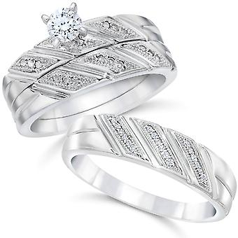 1/3ct His & Hers Diamond Trio Engagement Wedding Ring Set 10K White Gold