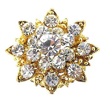 Brooches Store Small Gold & Crystal Starburst Snowflake Flower Brooch