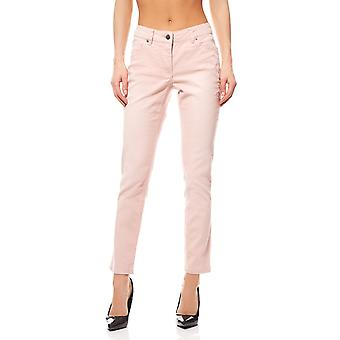 Pants flowers embroidery trouser short size ladies pink Aniston