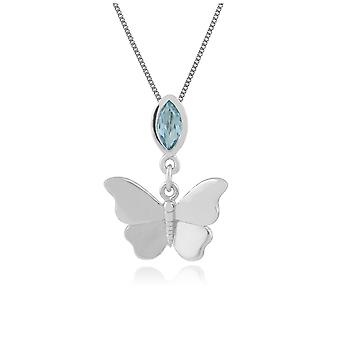 Gemondo 9ct White Gold 0.17ct Blue Topaz Butterfly Pendant on 45cm Chain