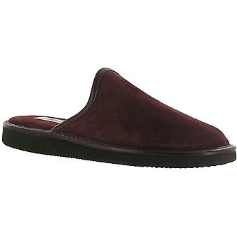 Mirak Mens Reg Suede Leather Textile Lined Mule Slipper Red