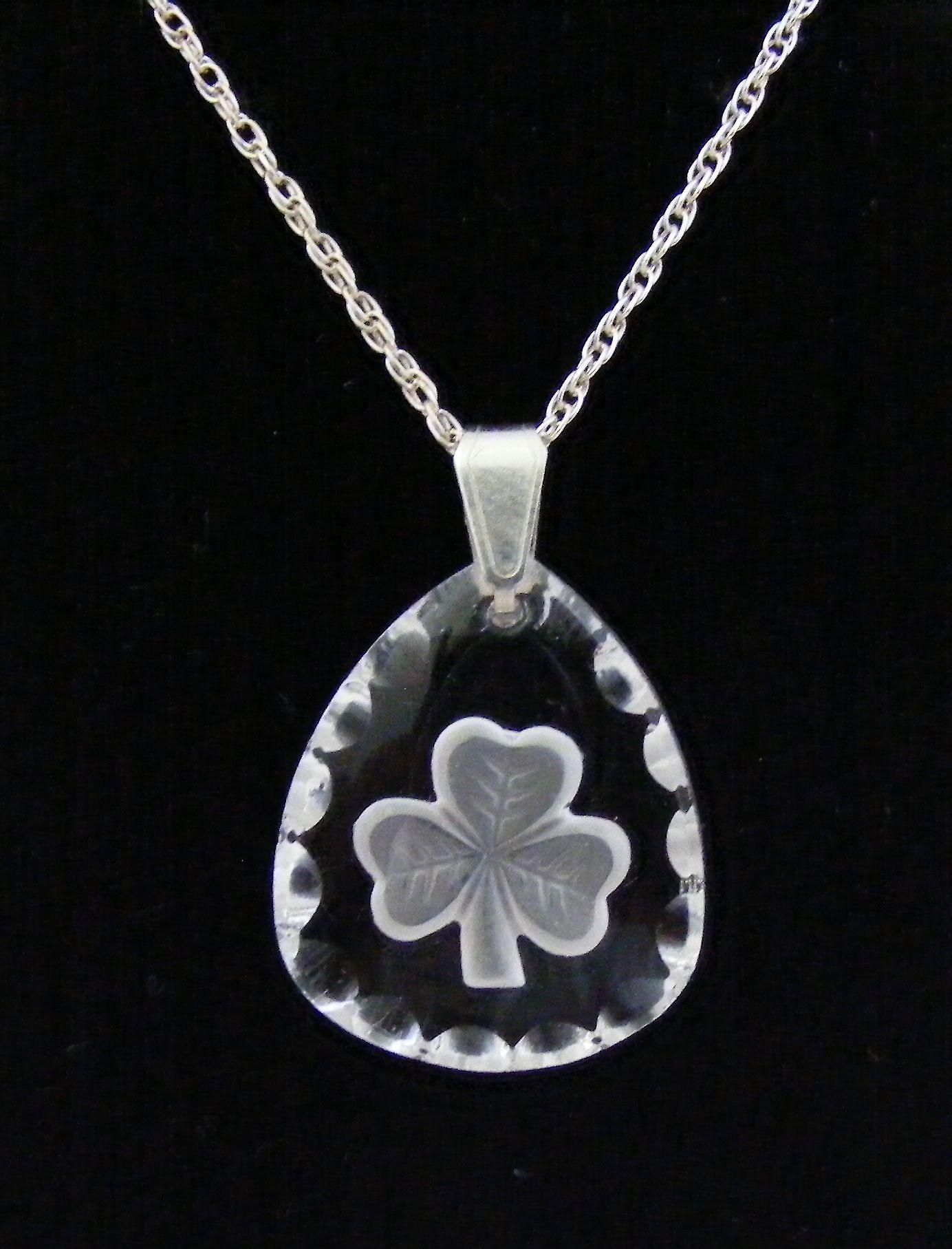 Frosted Triangle Shamrock Crystal Pendant