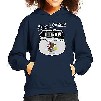 Seasons Greetings Illinois State Flag Christmas Kid's Hooded Sweatshirt