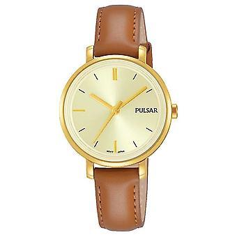 Pulsar Womans Tan Leather Strap Champagne Dial PH8364X1 Watch