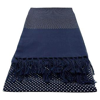 Michelsons of London Narrow Pin Dot Silk Scarf - Navy