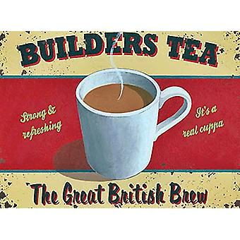 Builders Tea Small Metal Sign 200Mm X 150Mm