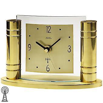 Desk clock radio clock table clock gold-colored metal body aluminum dial