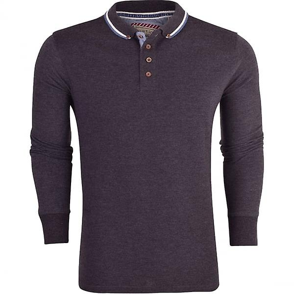 Brave Soul Mens Long Sleeved Pique Cotton Polo T Shirt Casual Top