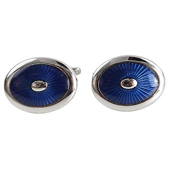 Zennor Enamel Oval Cufflinks - Blue/Silver