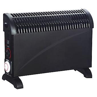 2000w Black Convector Heater With Turbo Boost & Timer Portable Electric Thermostat
