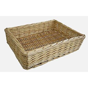 Large Straight Sided Rectangular Wicker Tray