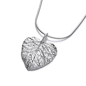 Cavendish Français en argent pendentif coeur feuille sans chaîne