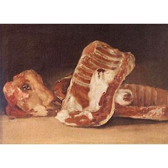 Натюрморт с овечьей головы, Франсиско де Гойя, 45x62cm