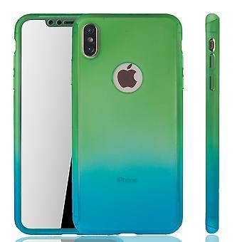 Apple iPhone proteção completa tampa tanque proteção vidro verde / azul XS Max móvel caso