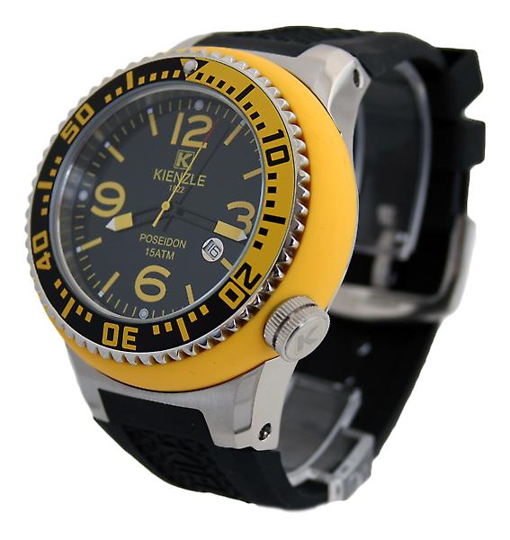 Waooh - Watch Kienzle 720 3051B - black silicone strap - Black dial - Metal Box & Yellow - Black & Yellow Bezel