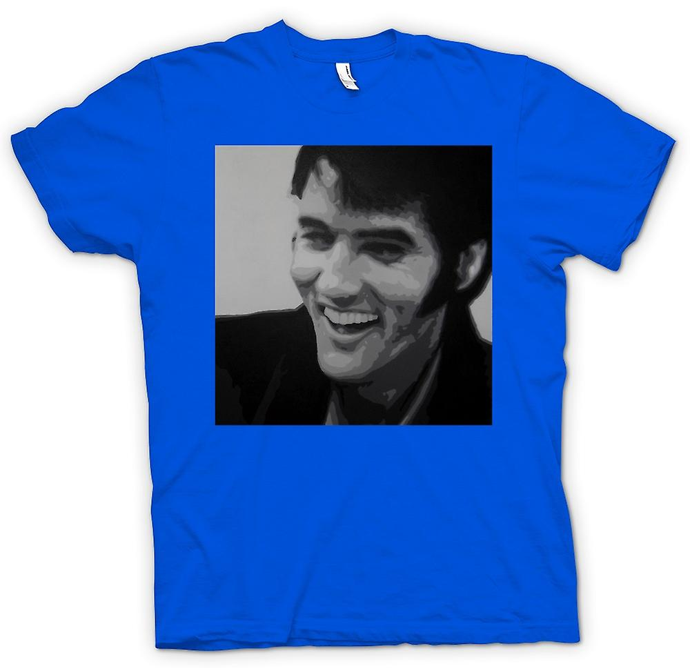 Mens T-shirt - Elvis Presley Smiling - BW - Pop Art