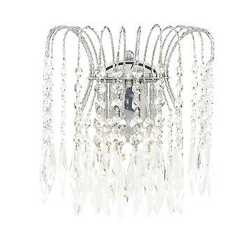 Searchlight 4172-2 Waterfall Chrome Crystal Wall Light