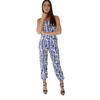 Lovemystyle Blue And White Adria Print Relaxed Fit Jumpsuit