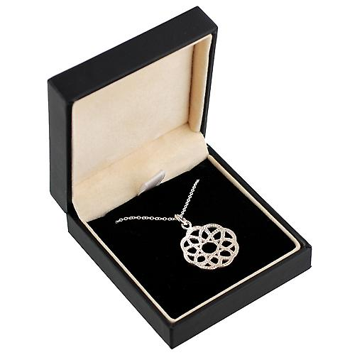 Silver 22mm round Celtic knot Pendant with a rolo Chain 14 inches Only Suitable for Children