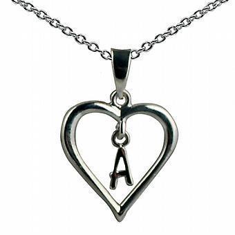 Zilveren 18x18mm eerste A in een hart hanger met een rolo ketting 20 inch