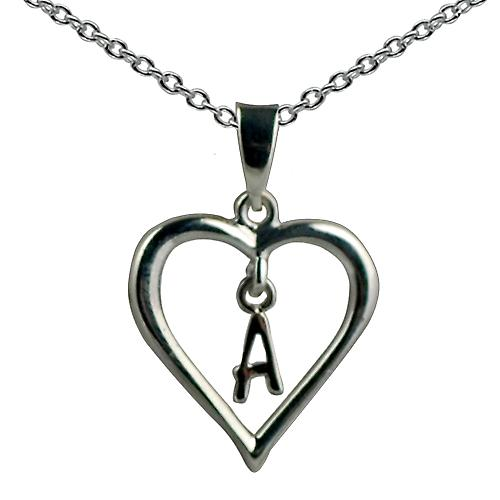 Silver 18x18mm initial A in a heart Pendant with a rolo Chain 14 inches Only Suitable for Children