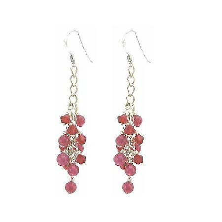 Fabulous Stunning Sexy Red Crystals & Ruby Stone Siver Hook Earrings