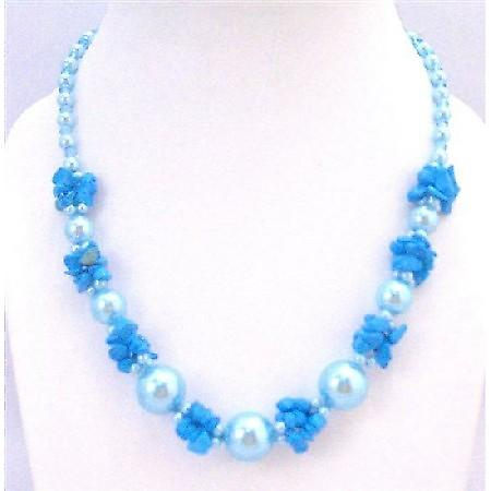 Trendy Necklace Blue Turquoise Nugget Chips Glass Beads Fancy Necklace