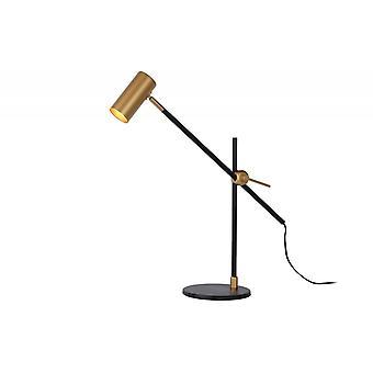 Lucide Philine Vintage Stahl schwarz und Gold Schreibtischlampe