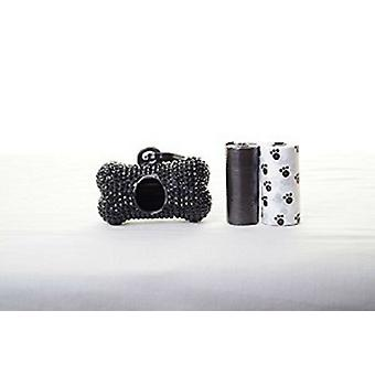 Black Crystal Strass Knochen geformt Waste Bag Dispenser