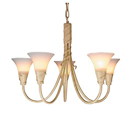 Elstead EM5 IV/GOLD Emily Traditional 5 Arm Chandelier with Spiralling Ribbons