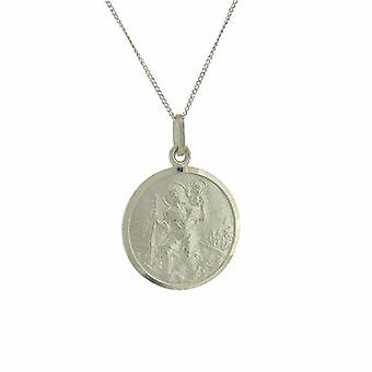 TOC Sterling Silver St. Christopher Medal 17mm Pendant Necklace 18