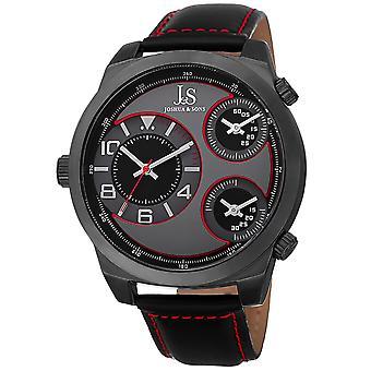 Joshua & Sons Men's JS88RD Black Triple Time Zone Quartz Watch with Leather Strap