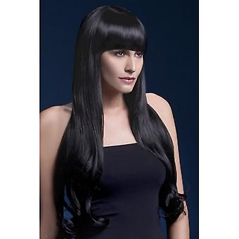 Smiffy's Fever Bella Wig, Black, Natural Wave With Fringe, 28inch/71cm