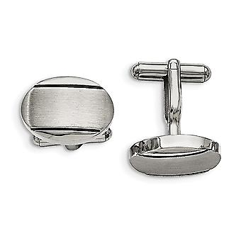 Men's Stainless Steel Polished/Brushed and Enameled Oval Cuff Links