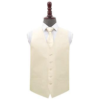 Beige shantung bryllup veste & slips sæt