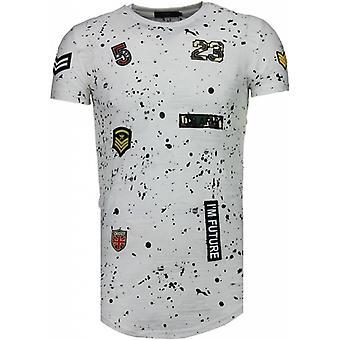 Exclusivo militar patches Paint Splash-T-shirt-branco