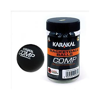 Karakal Competition Ball Black Squash Court Rubber Racketball Tub - Pack of 2