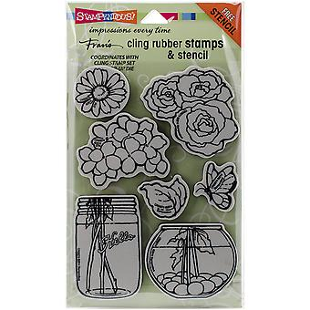 Stampendous Fran's Cling Stamp & Stencil Set 7