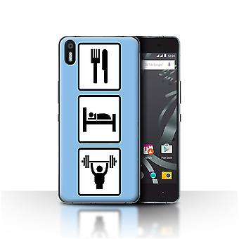 STUFF4 Case/Cover for BQ Aquaris X5/Lift/Gym/Blue/Eat/Sleep