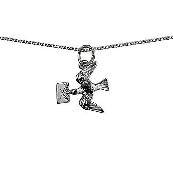 Silver 16x15mm solid Mail Pigeon Pendant with a curb Chain 16 inches Only Suitable for Children