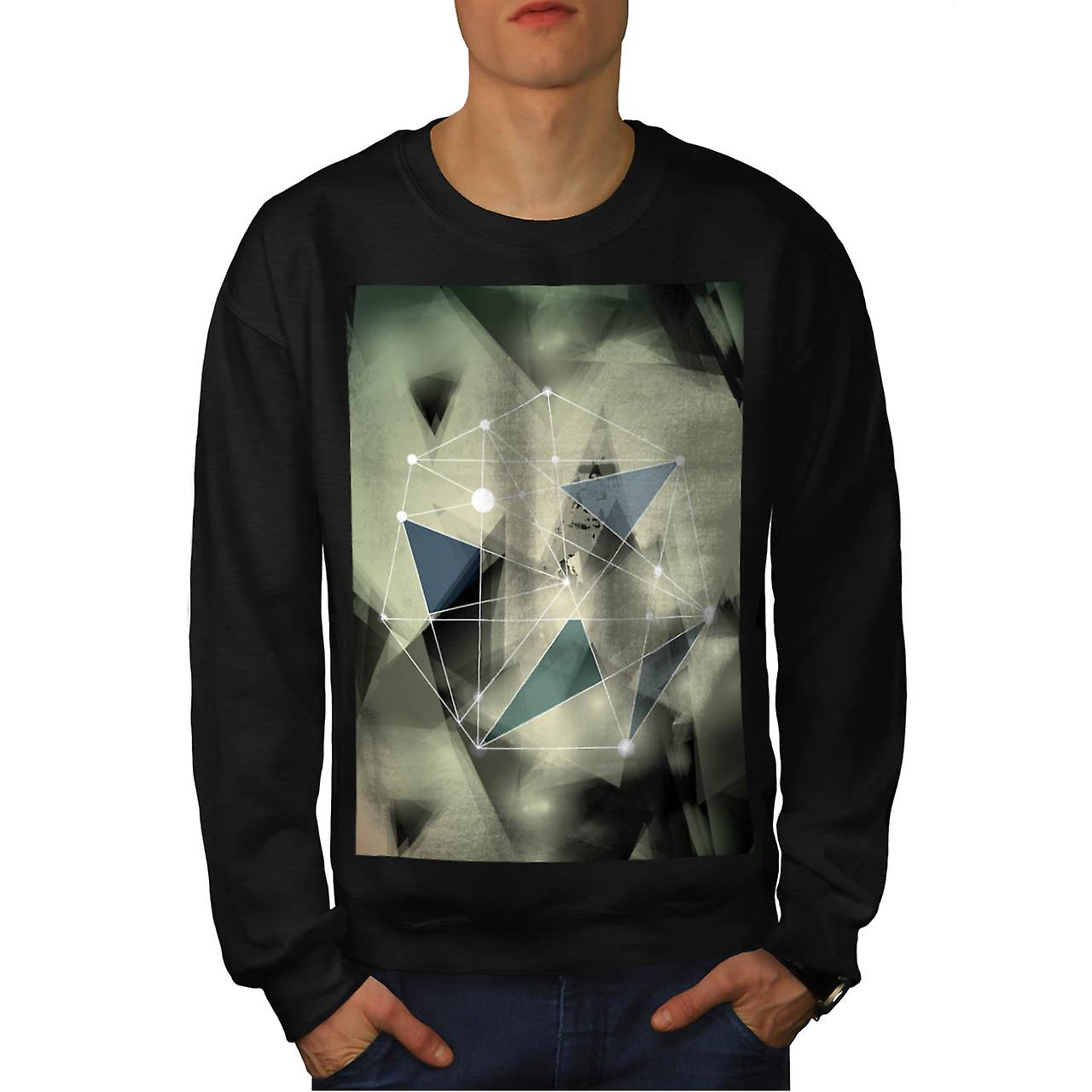 Crazy Abstract Print Geometric Men Black Sweatshirt | Wellcoda