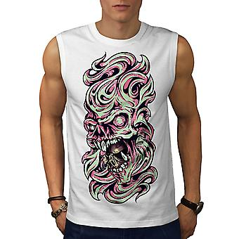 Fantasy Metal Death Skull Men White Sleeveless T-shirt | Wellcoda